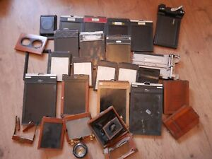 Joblot Wooden Camera plate parts darkslides large format half plate tessar lens