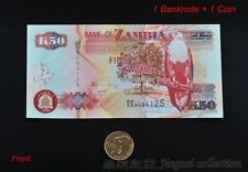 1 Set of Zambia 50 Kwacha Banknote Paper Money + 50 Ngwee Coin Elephant UNC