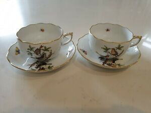 Herend porcelain Rothschild Bird pair of tea cup and Saucers