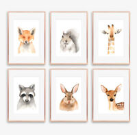 Woodland Watercolour Animal Wall Art Prints Baby Nursery or Childrens Room Decor