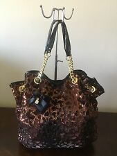 Betsey Johnson Sequin Leopard Print ''Gold Chain Detail'' Shoulder Bag Purse