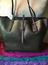 Coach Dark Gunmetal Hologram Market Leather Hobo Turn Lock Tote & Shopper