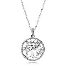 Pandora Family Tree Necklace, Pendant Clear CZ, Size : 31.5 in / 80 cm,#390384CZ