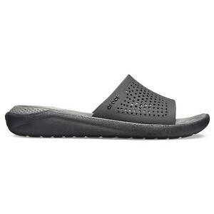 Crocs 205183 LITERIDE SLIDE Mens Slip On Pool Slider Sandals Black/Slate Grey