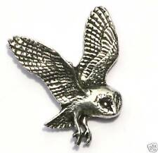 British Barn Owl Bird of Prey  Pewter Pin Badge
