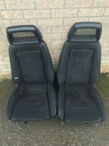 Pair of black fishnet Recaro front seats - Ford Escort / RS2000 custom / Harrier
