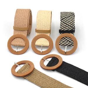 Summer Women Elastic Belt Round Buckle Vintage Boho Straw Woven Belt Dress PE