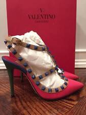 NIB Valentino Rockstud Blue Green Pink Beige T Strap Heel Pump Shoe 39.5 $1095
