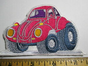 Red VW Bug Diecut Patch Vintage Original NOS Volkswagen Beetle