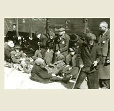 German Concentration Camp Train PHOTO Military World War II, Huddled Around