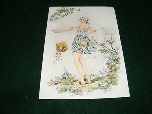 POSTCARD ART E MAUDY PRETTY GIRL SCANTILY CLOTHED PICKING STRAWBERRIES LITHO