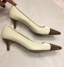 LK BENNETT 'Manu' white leather cork captoe kitten heels 40 UK7 courts