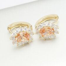 Yellow Gold Filled Zirconia 5 Colors Pretty Oval Hoop Earrings Gift Box Pack