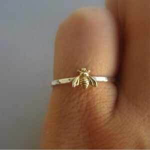 NEW Tiny Gold Bee Finger Rings Band Stacking Ring Wedding Anniversary Jewellery