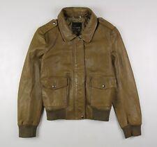 Banana Republic Leather Bomber Jacket Women's XL Brown Ochre