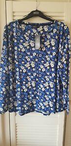 M&S floral linen rich jersey long sleeve  top size 20 BNWT