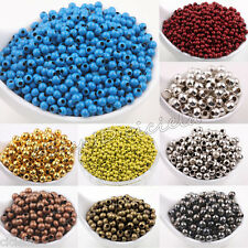 Wholesale Metal Round Spacer Beads  Jewelry Finding 3mm 4mm 5mm 6mm 8mm 10 Color