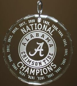Alabama Crimson Tide National Champions 2020 18 All Years Crystal Ornament