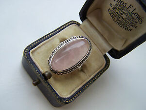 GORGEOUS STERLING SILVER ROSE QUARTZ RING WITH MARCASITE STONES VERY RARE SIZE M