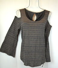 Lucky Brand Womens L Black Striped Cold Shoulder Bell Sleeve Top Blouse Pullover