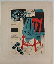 "Harry Brodsky ""The Red Chair"" Color Lithograph Signed 1953 And Numbered 2/15"