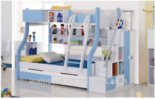 Double BLUE BUNK BED + TRUNDLE +STAIRCASE +DRAWERS Childrens Bedroom Furniture