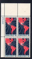 ALLYS STAMPS US Plate Block Scott #1340 6c HEMISFAIR '68 [4] MNH F/VF [STK]