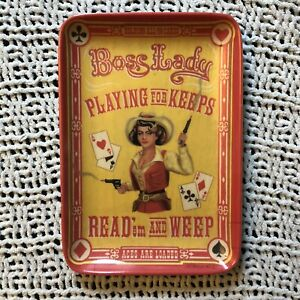 Cowgirl / poker / playing cards / deck of cards trinket tray - western home deco