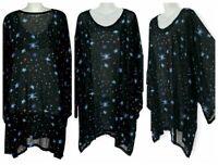 "Sheer Chiffon Kimono Caftan Tunic Layering Top Plus Size 4X 5X L35"" Star Print"