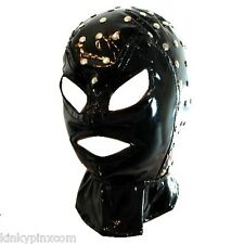 New PVC Studded Fancy Dress Gimp Style Hood Mask Restraint Free Postage 022