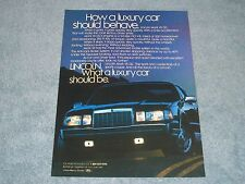 "1987 Lincoln Mark VII LSC Vintage Ad ""How a Luxury Car Should Behave"""