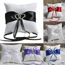 Ring Pillow Ribbon Rhinestones Wedding Decor Satin Wedding Party Heart Handmade