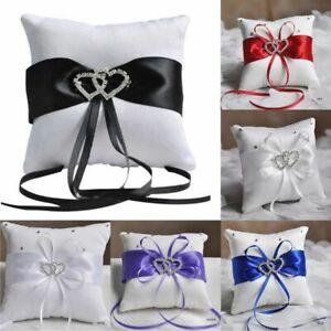 Ring Pillow Ribbon Rhinestones Wedding Decor Satin Wedding Party Heart Handmade