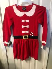 NEW HOLIDAY UGLY SWEATER DRESS JINGLE MRS CLAUS SANTA CLAUS GIRLS SZ LARGE 10/12