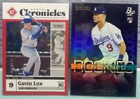 2020 Panini Chronicles Gavin Lux Red #/100 & Bowman Platinum Purple #/250