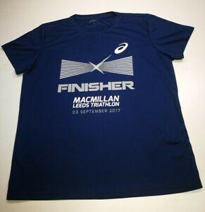 Asics Leeds Triathlon Mens T-shirt, Size L, Navy, Good Condition AD3