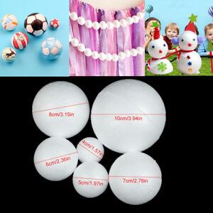 White Styrofoam Foam Ball Modelling Polystyrene Sphere DIY Crafts Decor 6 Size