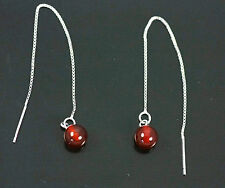 Pull Through / Threader, Red Agate Solid 925 Sterling Silver Dangle Earrings 031