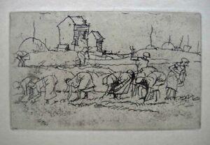 Frank William Brangwyn, Welsh artist. Etching, harvesting in Belz. Paris 1931