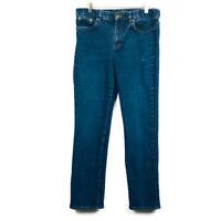 LRL Ralph Lauren JEANS CO. Dark Wash Mid Rise Denim Blue Jeans Straight Leg Sz 8