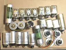 Vintage Variety Of Electric Capacitors And 12 And 24 Dc Volt Relays And More
