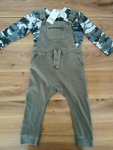 NEXT boys 2-3 years dungarees top outfit set new
