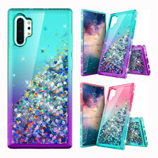 For Samsung Galaxy Note 10 Liquid Glitter Bling Transparent Hybrid Case Cover