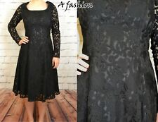 NEXT UK 8 RRP £65 LADIES LONG SLEEVED BLACK LACE SATIN LINED DRESS