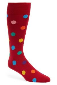Paul Smith Men's Teacup Multi-Color Polka Dot Socks in Red, One Size, NWT