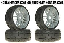 1:8 GRP GT Rubber GTK01-S4 Soft/Med Tread Tires (4) Silver Spoke Rims FREE ship