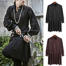 Mens Medieval Costume Fancy Dress Kurta Kaftan Renaissance Robe T Shirt Caftan