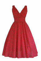 Ladies 1940's 1950's Retro Vintage Style Red Dot Flared Cotton Swing Tea Dress