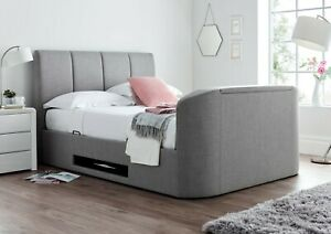 Time4Sleep Grey Upholstered Ottoman Copenhagen TV Bed  4ft6 Double/5ft King