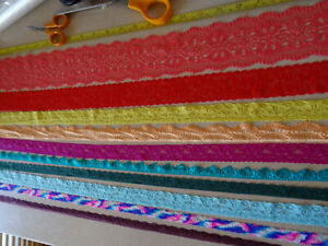Job Lot Off-Cuts STRETCH Lace 10 x 1m lengths Lace Bundle mixed colours LOT 2